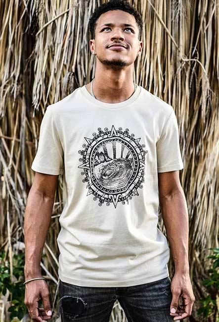 La vague - Sérigraphie artisanale - Saint-Leu île de la Réunion - Coton 100% Biologique - Commerce Équitable - Dessin original Bouftang