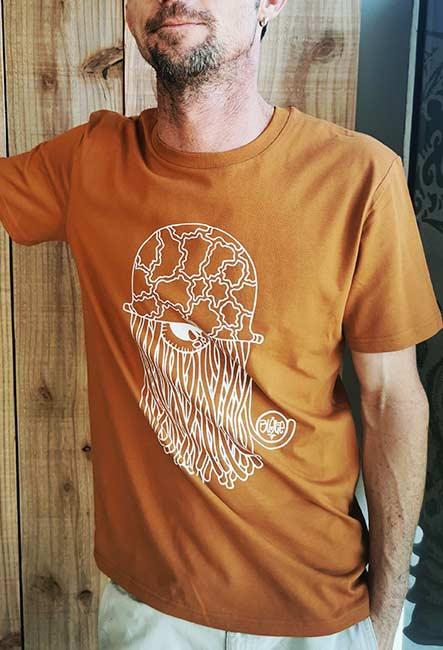Tee-shirt Méduse - Sérigraphie artisanale - Saint-Leu île de la Réunion - Coton 100% Biologique - Équitable - Dessin original Blotie