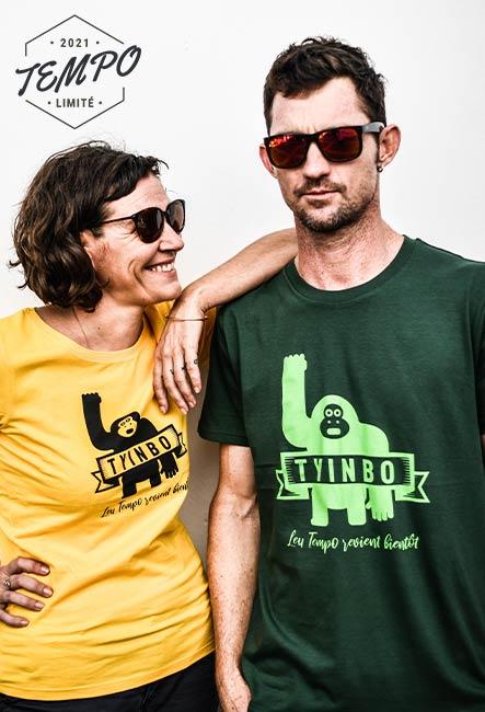 Tee-shirts Tyinbo - Sérigraphie artisanale - Saint-Leu île de la Réunion - Coton 100% Biologique - Équitable - Bouftang Art