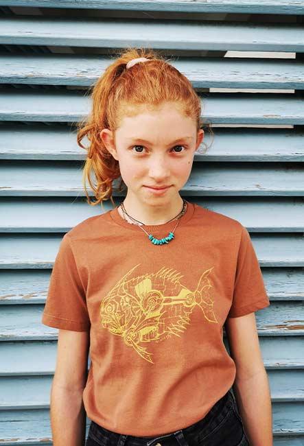 Piranik - Tee-shirt - Sérigraphie artisanale - Saint-Leu île de la Réunion - Coton 100% Biologique - Équitable - Dessin original So Intence